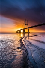 Preview iPhone wallpaper Bridge, sea, coast, sunset, Lisbon, Portugal