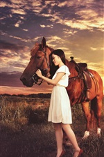 Preview iPhone wallpaper Brown horse and Asian girl, sunset, grass, clouds