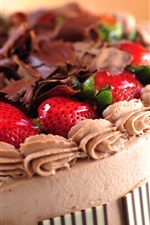 Preview iPhone wallpaper Cake, strawberry, chocolate, cream, food