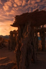 Preview iPhone wallpaper Calcareous towers, Mono lake, sunset, evening, California, USA
