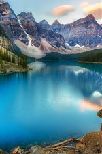 Preview iPhone wallpaper Canada, lake, mountains, forest, beautiful nature landscape