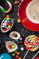 Candy pills, lollipops, coffee, colorful