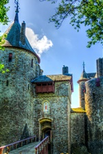Preview iPhone wallpaper Castell Coch, castle, grass, trees, UK, South Wales