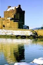 Preview iPhone wallpaper Castle, bridge, river, snow, winter