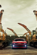 Chevy Camaro red supercar and excavators