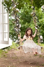 Preview iPhone wallpaper Childhood, cute child girl play swing