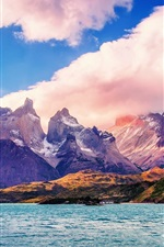 Preview iPhone wallpaper Chile, beautiful nature landscape, sea, mountains, clouds
