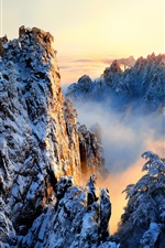 Preview iPhone wallpaper China, Anhui, Huangshan, beautiful nature landscape, snowy, mountains, sunrise