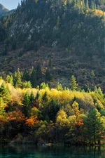 Preview iPhone wallpaper China, Jiuzhaigou, trees, mountains, lake, autumn