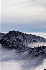 Preview iPhone wallpaper China, beautiful nature landscape, pagoda, mountains, trees, clouds