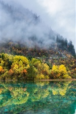 Preview iPhone wallpaper China nature landscape, autumn, mountains, trees, lake, fog