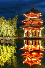 Preview iPhone wallpaper China, pavilion, park, pond, trees, lights, night