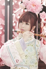 Preview iPhone wallpaper Chinese girl, retro style, play flute