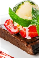 Preview iPhone wallpaper Chocolate cake, piece, strawberry, mint, dessert