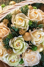 Preview iPhone wallpaper Christmas decoration, roses, candy, twigs, candle