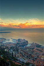 Preview iPhone wallpaper City, coast, buildings, sea, clouds, sunset
