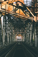 Preview iPhone wallpaper City, railroad bridge