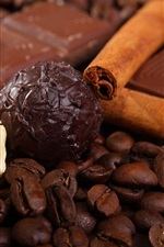 Preview iPhone wallpaper Coffee beans and chocolate candy