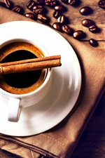 Preview iPhone wallpaper Coffee beans, cup, drink, saucer, cinnamon