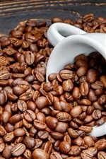 Coffee beans, white cup