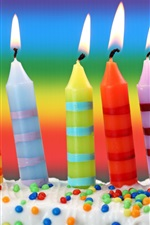 Colorful candles, flame, cream, Birthday cake