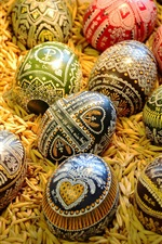 Colorful eggs, Easter, grain