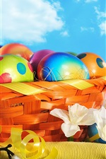 Preview iPhone wallpaper Colorful painted eggs, flowers, basket, Happy Easter