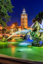 Country Club Plaza, fonte, escultura, noite, Kansas City, Missouri, EUA
