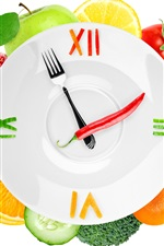 Preview iPhone wallpaper Creative clock, vegetables and fruits