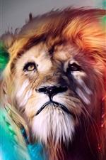 Preview iPhone wallpaper Creative design, lion face, colors