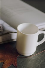 Preview iPhone wallpaper Cup, book, maple leaf, still life