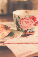 Preview iPhone wallpaper Cup, croissant, food