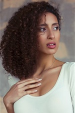 Curly hair girl, white clothing