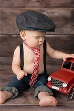 Preview iPhone wallpaper Cute baby, boy play toy car