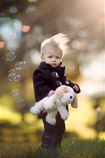 Preview iPhone wallpaper Cute little boy, child, dog toy, bubbles
