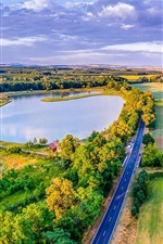 Czech Republic, road, greens, fields, lake, trees, houses