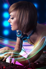 Preview iPhone wallpaper DJ, girl, abstraction lines, headphones, record, music theme