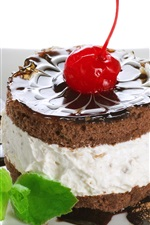 Preview iPhone wallpaper Dessert, cake, chocolate, cherry