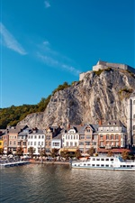 Preview iPhone wallpaper Dinant, Belgium, church, houses, rocks, ships, river