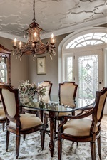 Dining room, chairs, table, sideboard, candles
