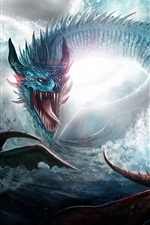 Preview iPhone wallpaper Dragon, sea, waves, art picture