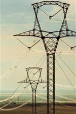 Preview iPhone wallpaper Electricity cables, high voltage transmission lines