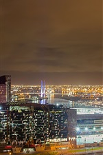 Preview iPhone wallpaper England, Manchester, city, buildings, lights, night, sky