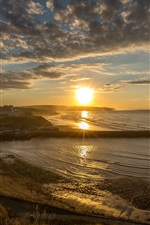 Preview iPhone wallpaper England, Whitby, coast, sea, city, pier, clouds, sun rays, morning