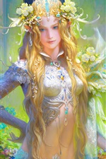 Preview iPhone wallpaper Fantasy girl, blonde, flowers, art picture