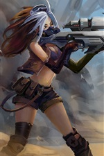 Preview iPhone wallpaper Fantasy girl use gun, bird, art picture