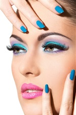 Preview iPhone wallpaper Fashion girl, makeup, blue colored nails