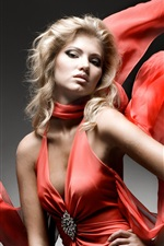 Preview iPhone wallpaper Fashion girl, red dress, art photography