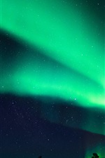 Preview iPhone wallpaper Finland, Northern lights, night, beautiful sky, stars