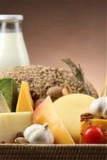 Preview iPhone wallpaper Food, cheese, tomatoes, fruits